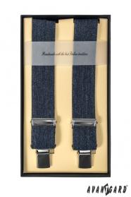 Pánske traky štvorbodové - Modrá  jeans