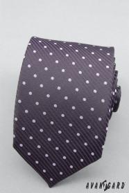 Bodkovaná fialová kravata lila bodky