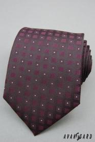 Fialová kravata štvorčekový vzor