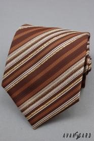 Hnedá kravata zlatý prúžok