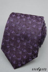 Tmavo fialová kravata jemné květy