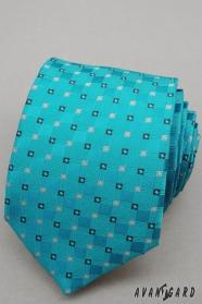 Tyrkysová kravata s drobnými kockami