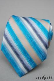 Tyrkysová kravata s širokými prúžky
