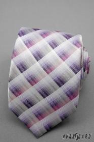 Kockovaná kravata ružová fialová