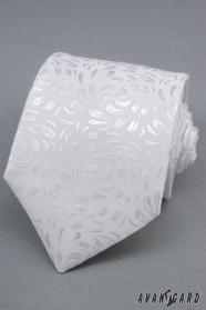 Biela kravata so vzorom lesklé lístky