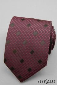 Kockovaná bordová kravata