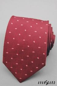 Červená pánska kravata s malými štvorčeky