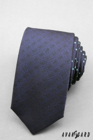 Kravata SLIM tmavo modrá s bodkami