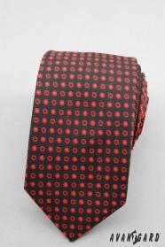 Kravata SLIM čierna červené bodky