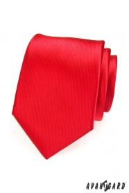 Pánska kravata červená s jemnými prúžkami
