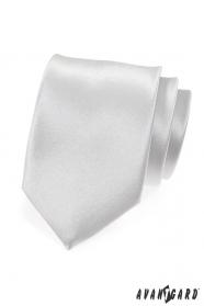 Biela hladká kravata lesklá