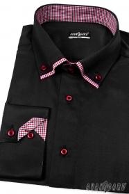 Pánska košeľa slim dlhý rukáv - Čierna