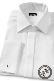 Pánska košeľa SLIM - krytá léga, manžetové gombíky - Biela