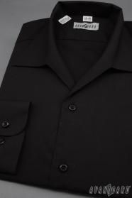 Pánska košeľa s rozhalenkou, dlhý rukáv - Čierna