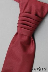 Hladká francúzska kravata s vreckovkou bordó