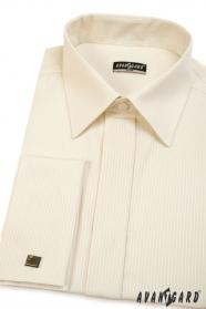 Pánska košeľa SLIM smotanová s úzkym prúžkom, predĺžená veľkosť