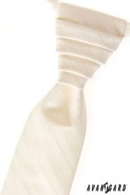 Smotanová svadobná kravata s jemnými prúžkami