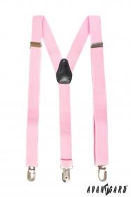 Ružové trojbodové traky s čiernou kožou