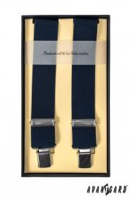Luxusné tmavo modré pánske traky štvorbodové
