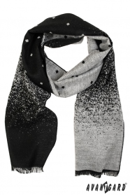Pánska elegantná šál čierno šedý vzor