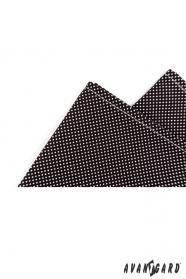 Pánska bavlnená vreckovka čierna s bielou bodkou