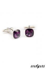 Manžetové gombíky fialový brúsený kameň