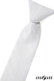 Biela detská kravata so strieborným vzorom