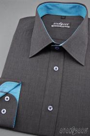Grafitová pánska košeľa s tyrkysovými doplnkami