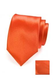 Oranžová kravata v sete s vreckovkou
