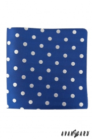 Modrá vreckovka s veľkými striebornými bodkami