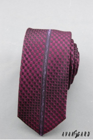 Slim kravata s fialovým vzorom