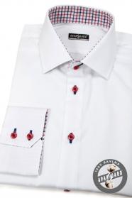 Biela pánska košeľa slim s červenými gombíkmi