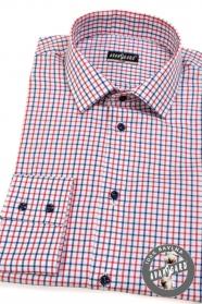 Pánská košeľa SLIM červená modrá kockovaná