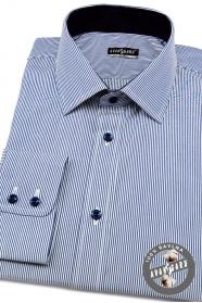 Pánska košeľa SLIM dlhý rukáv - jemné modrobiele prúžky