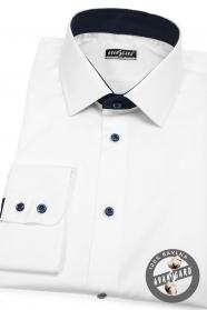 Biela pánska košeľa SLIM s modrými doplnkami