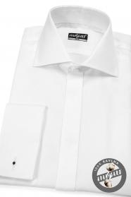 Pánska košeľa SLIM krytá léga, biela 100% bavlna