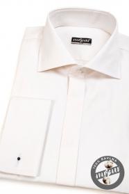 Pánska košeľa SLIM s krytou legou na MG - Krémová