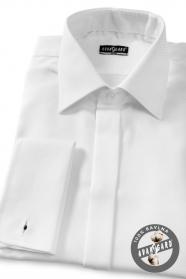 Pánska košeľa SLIM krytá léga na manžetové gombíky biela