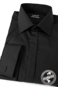 Pánska košeľa SLIM krytá lega bavlnena - Čierna