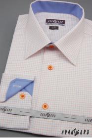Biela pánska košeľa slim s modrými a oranžovými doplnkami