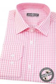 Pánska košeľa slim s ružovou kockou dlhý rukáv