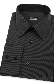 Košeľa SLIM čierna s jemným prúžkom