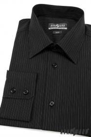 Preštíhlená pánska košeľa SLIM čierna s prúžkami
