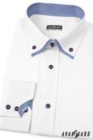 Pánska košeľa SLIM biela s elegantnou kockou