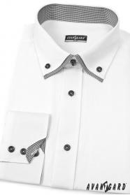 Biela košeľa SLIM s čiernymi doplnkami dlhý rukáv