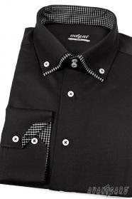 Pánska košeľa SLIM čierna vnútri kockovaná