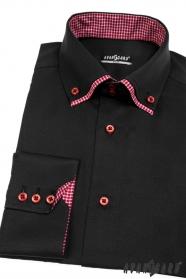 Pánska košeľa SLIM dlhý rukáv - Čierna vnútri bordó kocky