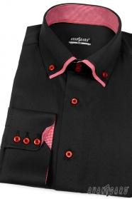Pánska košeľa SLIM čierna s červenou vnútri