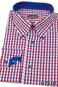 Pánska košeľa SLIM kockovaná modrá s červenou