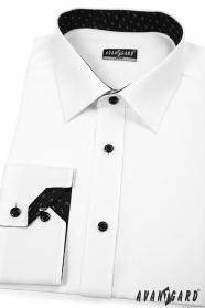 Preštíhlená pánská košeľa SLIM bielo-čierna kombinácia